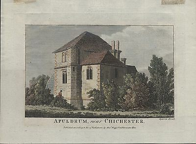 APULDRUM, CHICHESTER - 18th CENTURY HAND COLOURED COPPER ENGRAVING c.1700s
