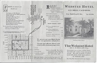 c1920 Illustrated Adv Brochure, The Webster Hotel, San Diego, California