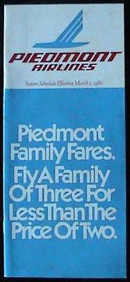 Piedmont Airlines: System Schedule / Timetable Effective March 1, 1980: Vintage