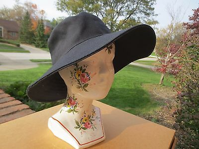 * Anabel Ingall * Australia * Lovely Black Canvas Fabric Brimmed  Hat * $90+ *