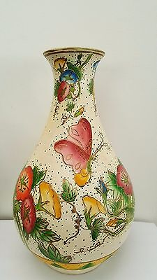 Vintage Hand Painted Pottery Vase - Butterflies