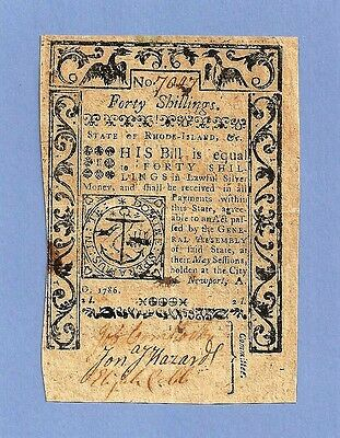 1786 - 40 Shillings Rhode Island Colonial Currency Extra Fine Crisp