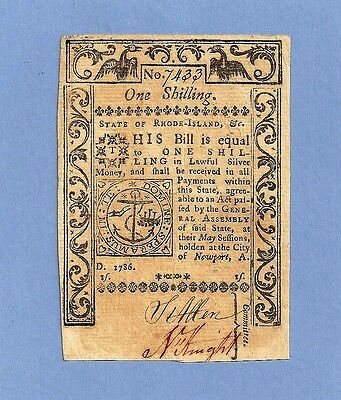 1786 One Shilling Rhode Island Colonial Currency Extra Fine Crisp