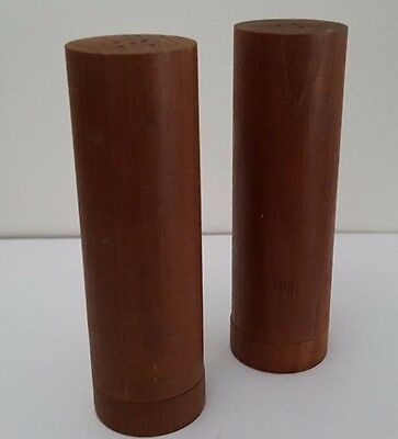 Vintage Danish Teak Wood Salt & Pepper Shakers