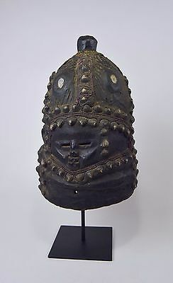 Rare Mende Bundu African Mask with Ornate Shell and bead designs
