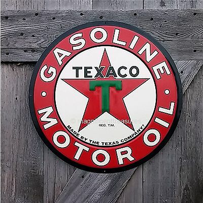 "Texaco Gasoline Gas Motor Oil Texas Company Large 24"" Round Embossed Metal Sign"