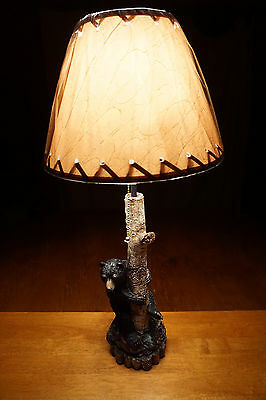 BLACK BEAR CUB BIRCH TREE Log Cabin Lodge Side End Table LAMP Home Decor NEW