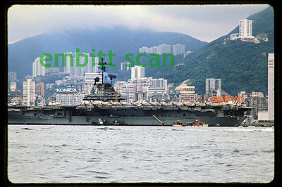 Original Slide, Navy Aircraft Carrier USS Hancock (CV-19) at Hong Kong, 1975