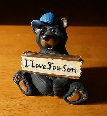 I LOVE YOU SON Black Bear Blue Baseball Cap Lodge Cabin Figurine Home Decor NEW