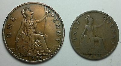 1928 GREAT BRITAIN  half penny, PENNY coins, UK coin