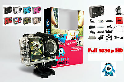 MONSTER 1080p FULL HD Action Sports Camera - 30m Waterproof + Accessories