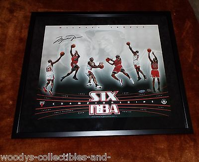 Rare Michael Jordan Autographed 20 X 16 Championship Photo Collage Upperdeck Coa