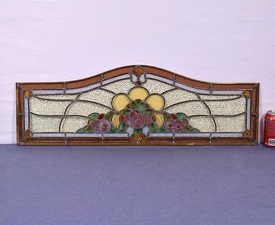 Antique French Stained Glass Panel with Brass and Leaded Framing