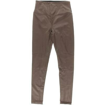 Lysse 4345 Womens Brown Faux Leather Shaping Flat Front Ankle Pants M BHFO