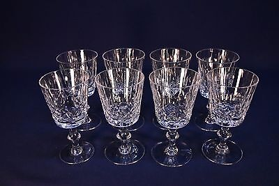 Cross And Olive Cut Crystal Wine Stem Glasses -Excellent- Lot Of 8
