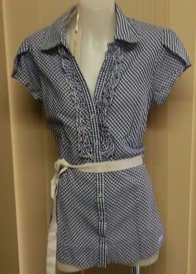 BNWT Guess Blue/White Short Sleeve Holli Gingham Top Size M 12