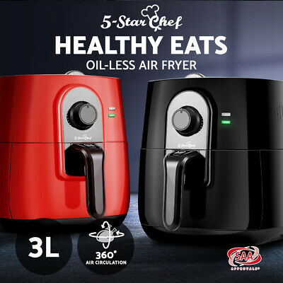5-Star Chef 3L Air Fryer Low Fat Oil Less Free Rapid Deep Cooker Kitchen Recipe