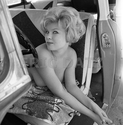 1960s Ron Vogel Negative, busty nude pin-up girl Terry Higgins in truck, t972302
