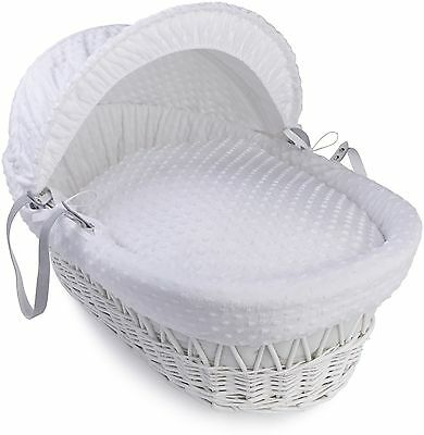 Clair de Lune Dimple White Wicker Moses Basket - White :The Official Argos Store