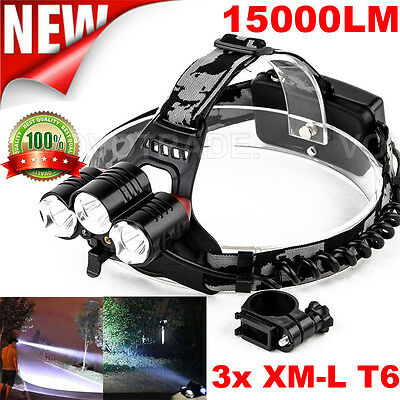 15000LM LED Headlight Flashlight Torch Cree 3x XM-L T6 Headlamp Head Light LOT