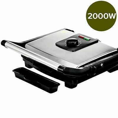2000W Electric BBQ Grill Stainless Steel Sandwich Press