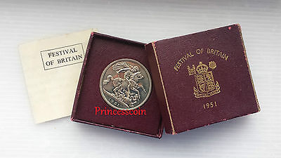 1951*unc*george Vi Festival Of Britain Crown Coin-Box / Coa