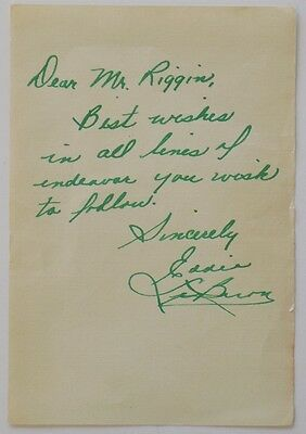 Eddie LeBaron Signed Personalized Letter To Mr. Riggin JSA
