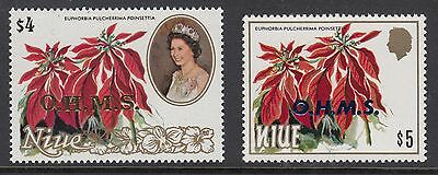 NIUE 1986 $4, $5 FLOWERS, OFFICIAL, Mint Never Hinged