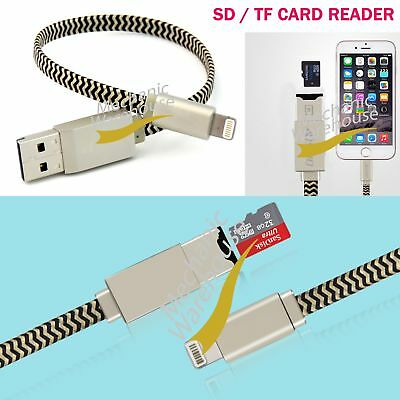 USB i-Flash Drive Lightning Data Cable Memory TF Micro SD Card Reader for iPhone