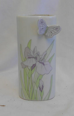 STUNNING Vintage Collectable DECORATIVE HAND PAINTED BUTTERFLY CERAMIC VASE