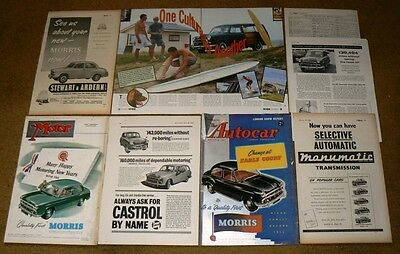 MORRIS OXFORD 1954-56  8x ADVERTS to FRAME inc Traveller. NOT COPIES or Prints