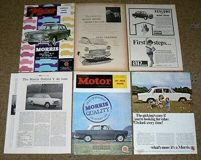 Morris OXFORD Farina  6x ADVERTS To Frame & Road Test - JOBLOT,  NOT COPIES