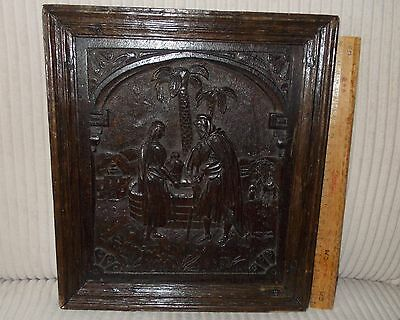 17Th Century Carved Wood Panel ;christ With The Woman At The Well