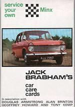 Hillman MINX 1950-68 Jack Brabham Car Care Cards printed in 1968-  NOS  LAST ONE