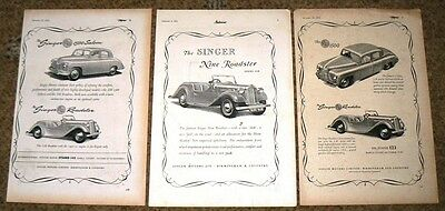 Singer ROADSTER  3 x ADVERTS to Frame 1951-52  NOT COPIES - JOB LOT