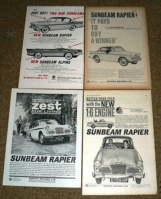 Sunbeam RAPIER SIII   4 x ADVERTS to Frame 1959-1962  NOT COPIES Job Lot