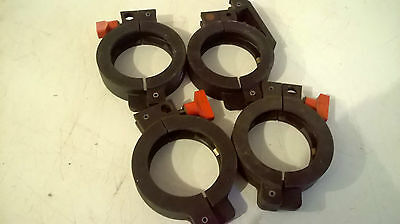 Four NW 40 Plastic type swing clamps, (one quick release)