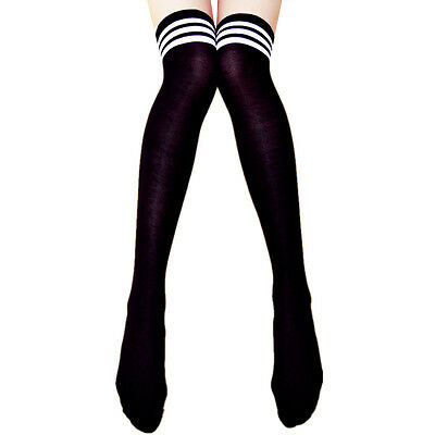 Men Women Sport Athletic Soccer Stripe Long Socks Over Knee Thigh High Stocking