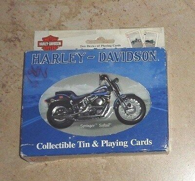 New Harley Davidson Motor Cycles Collection Tin & 2 Playing Cards Deck Pack