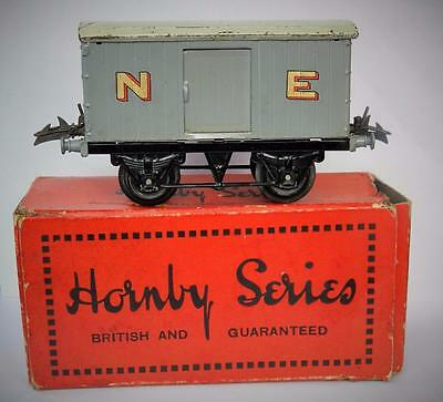Hornby Series Rare O Gauge Boxed Tinplate N.e Luggage Van #1 1931 Gold Lettering