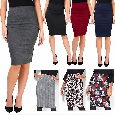 Womens Ladies Stretch Fitted Pencil Belt Midi Bodycon Skirt Busines Work UK 8-20