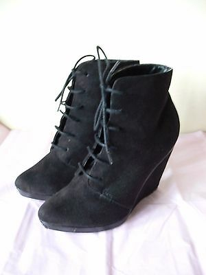 New Look, Black Suede Wedge Heel Ankle Boots, Size 5..