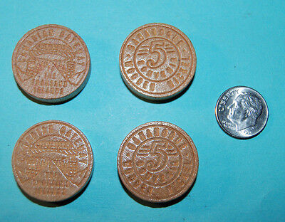 (4) Two-sided Wooden Nickel Souvenirs Canadian Gateway Thousand Islands