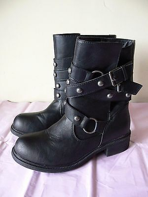 New Look,black  Biker Style Boots, Size 6...