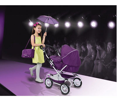 Silver Cross Classic Deluxe Doll's Pram In Damson With Basket,parasol & Bag;new!