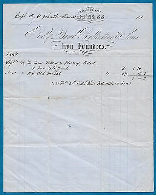 1865 Invoice David Ballantine & Sons Iron Founders Bowness-On-Windermere