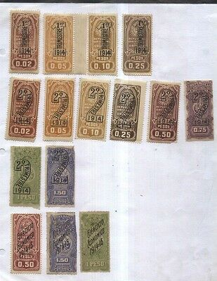 Uruguay Revenues 1914/5 Lot Of Old  Sets Mlh