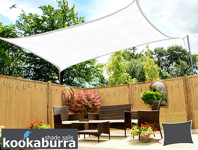 Kookaburra Bright White Breathable Shade Sail Garden Patio UV Sun Screen Canopy & KOOKABURRA SAIL SHADE Sun Canopy Patio Awning Garden 98% UV ...