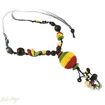 10 Wholesale Lot Jewelry Long Necklace Knitted Ball Hippie New Rasta Reggae Wood