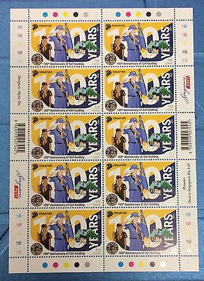 Singapore stamps - 2017 Girl Guides 100 Years complete Sheet MNN